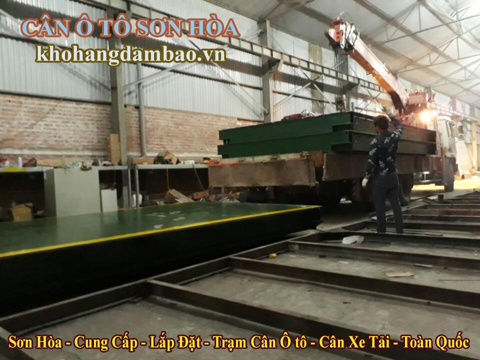 tiến hành vận chuyển bàn cân ô tô 60 tấn đến công trình