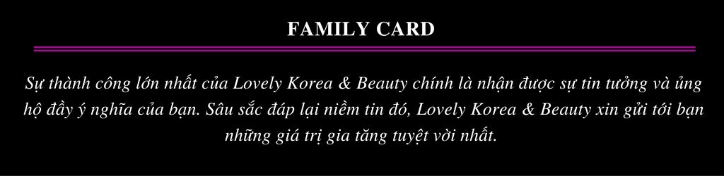 Thẻ thành viên của salon Lovely Korea & Beauty