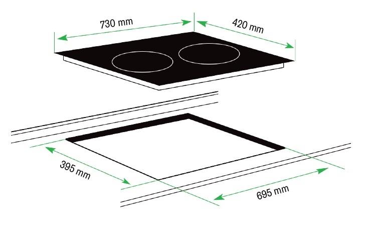 Kích thước bếp từ NpoliA NA-ID01