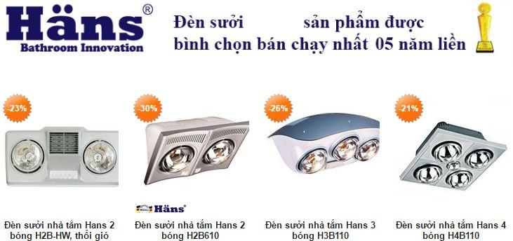 Hình ảnh một số loại đèn sưởi nhà tắm Hans