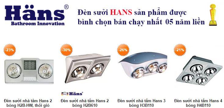 Đèn Sưởi Nhà Tắm Hans 2, 3, 4 Bóng Đủ Loại Giá Tốt