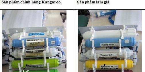 Sự khác nhau giữa máy lọc nước Kangaroo giả và thật