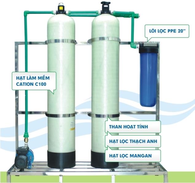 Hệ thống lọc đầu nguồn + làm mềm nước sinh hoạt