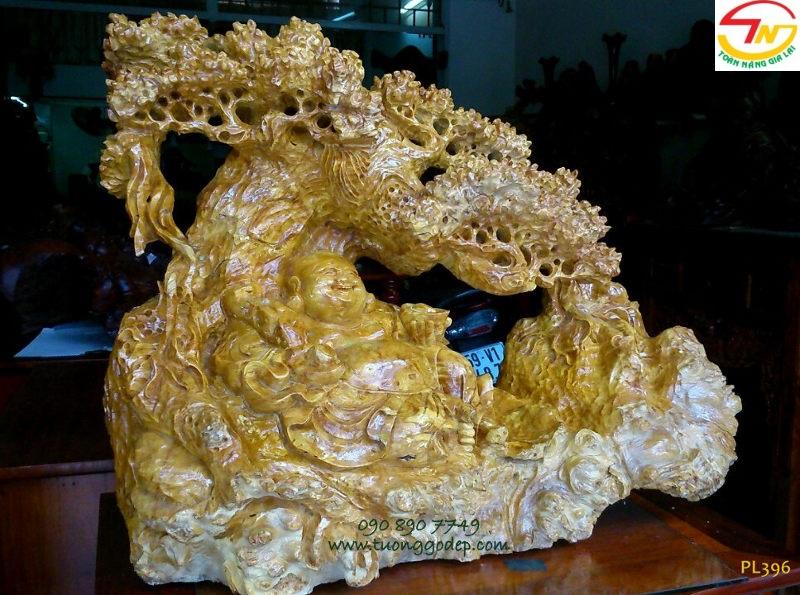 Phật Di Lặc gỗ nu nghiến
