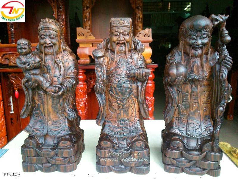 Tượng Phúc Thọ Lộc bằng gỗ mun sọc