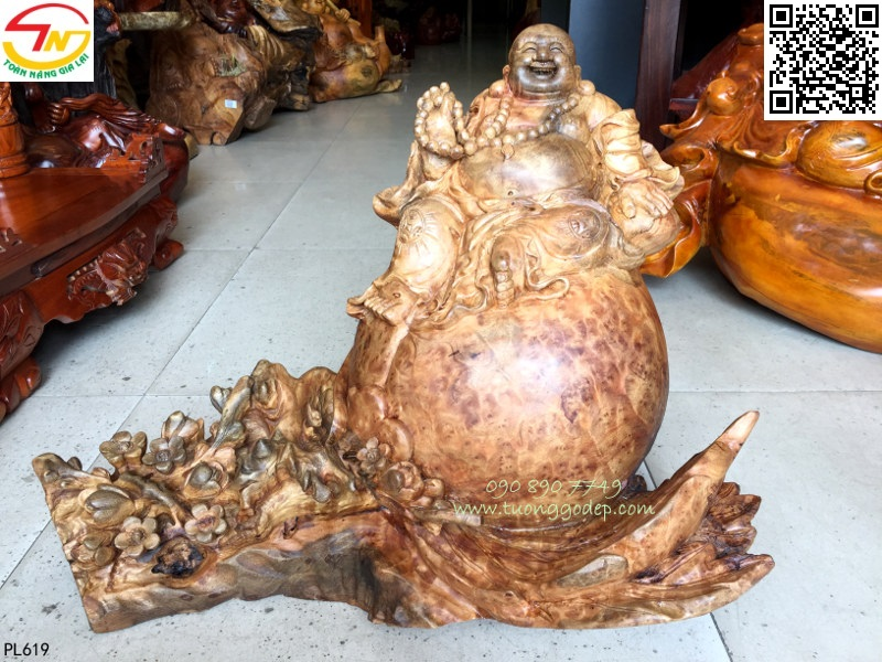 Tượng Phật Di Lặc gỗ nu xá xị