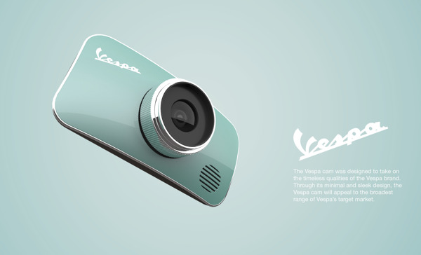Mặt trước của chiếc máy ảnh này mang thiết kế phảng phất hình ảnh của chiếc Vespa