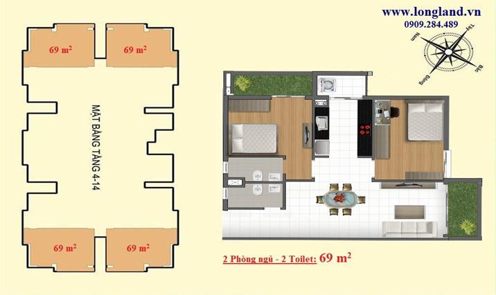Vị trí - Thiết kế căn hộ 69m2 dự án Emerald Thủ Đức - Metro số 11