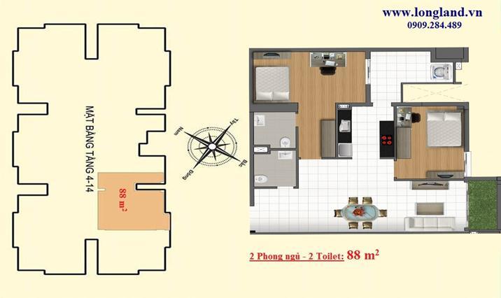 Vị trí - Thiết kế căn hộ 88m2 dự án Emerald Thủ Đức - Metro số 11