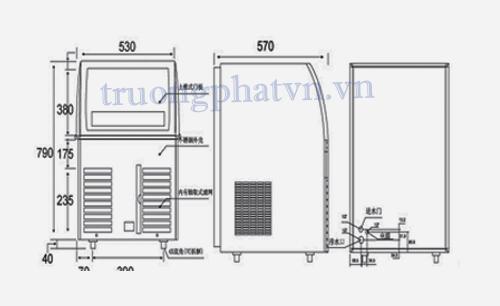 Chi tiết thiết kế máy làm đá viên AC 100/ AC 120