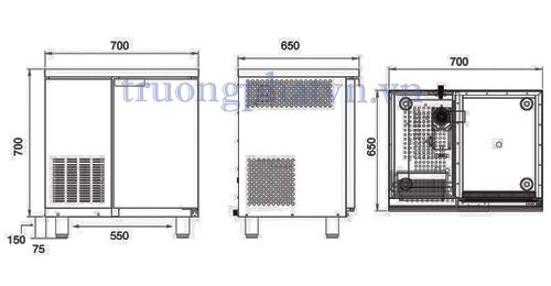 Chi tiết thiết kế máy làm đá viên AC  - 150