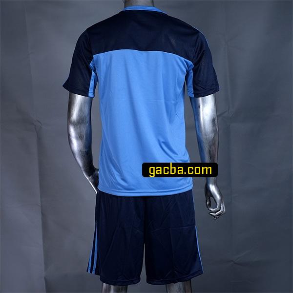 Quần áo bóng đá không logo 3468 xanh cô ban mặt sau