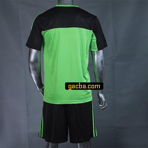 Quần áo bóng đá không logo 3468 xanh cốm mặt sau