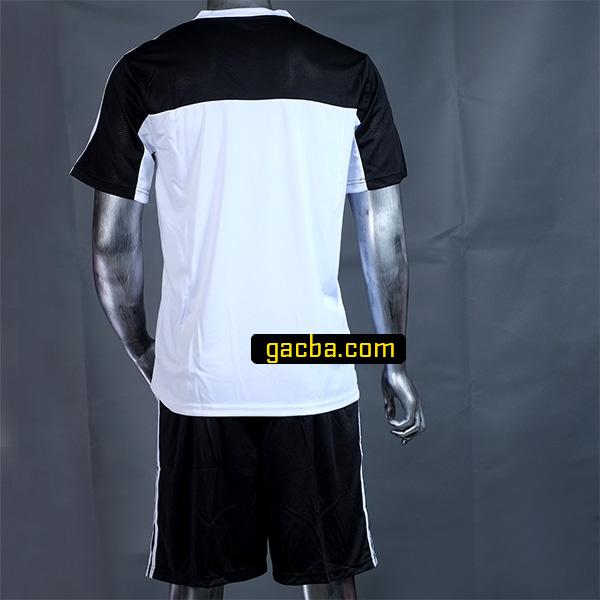 Quần áo bóng đá không logo 3468 trắng mặt sau