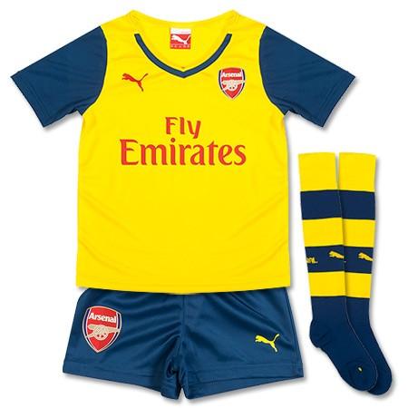 Quần áo bóng đá trẻ em Arsenal vàng 2014