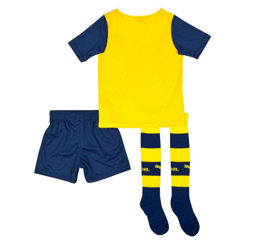 Quần áo bóng đá trẻ em Arsenal vàng 2014 mặt sau