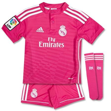 Quần áo bóng đá trẻ em Real hồng 2014