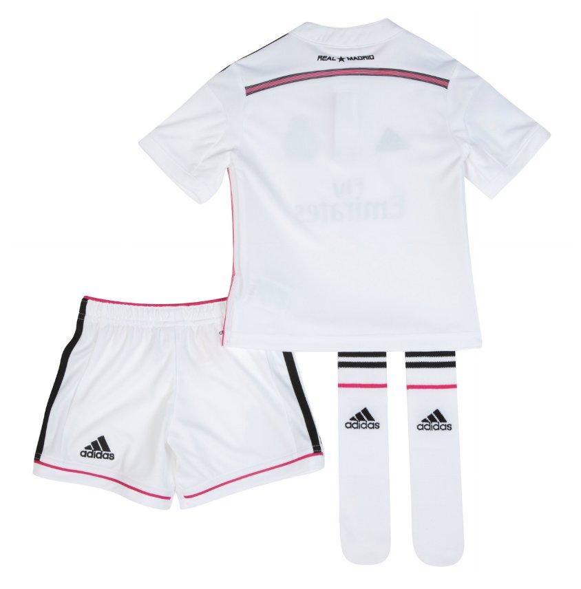 Quần áo bóng đá trẻ em Real trắng 2014 mặt sau