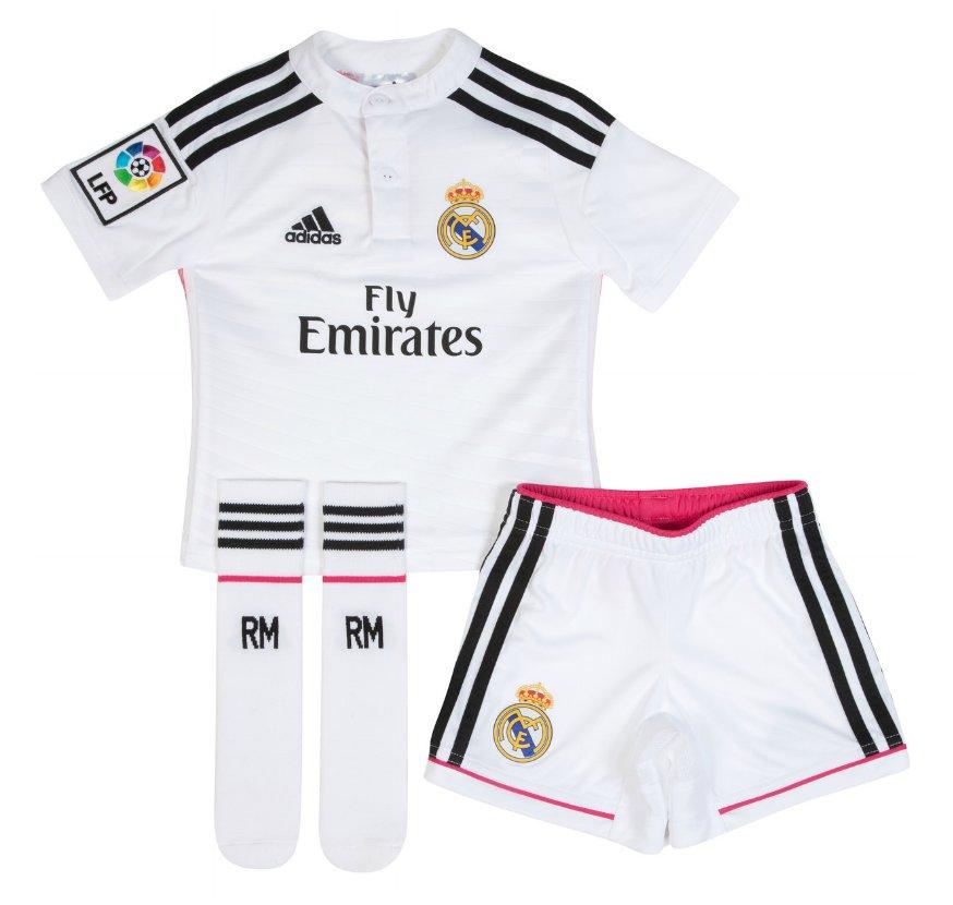 Quần áo bóng đá trẻ em Real trắng 2014