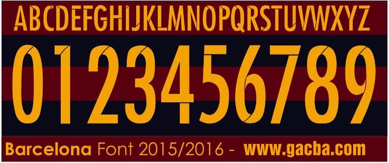 bộ font số Barca 2015