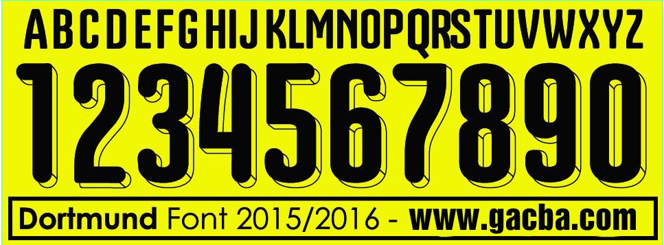 bộ font số dortmund 2015