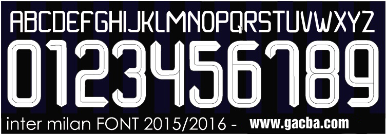 bộ font chữ số Inter Milan 2015