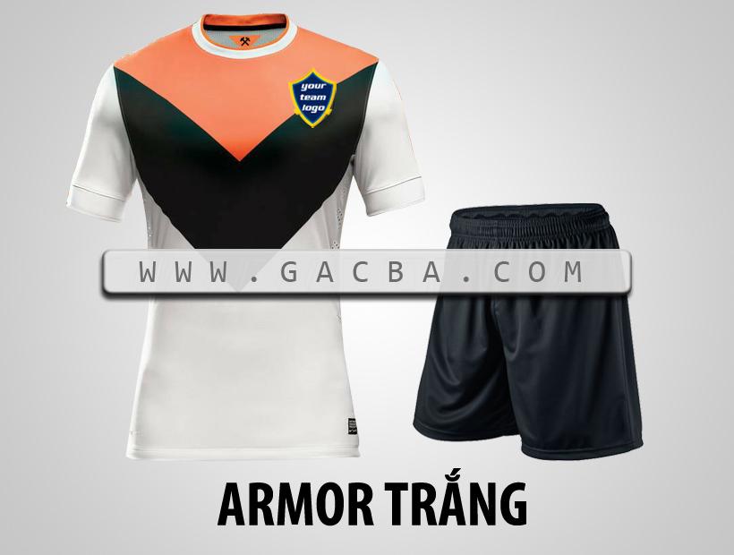 Quần áo bóng đá không logo Armor trắng