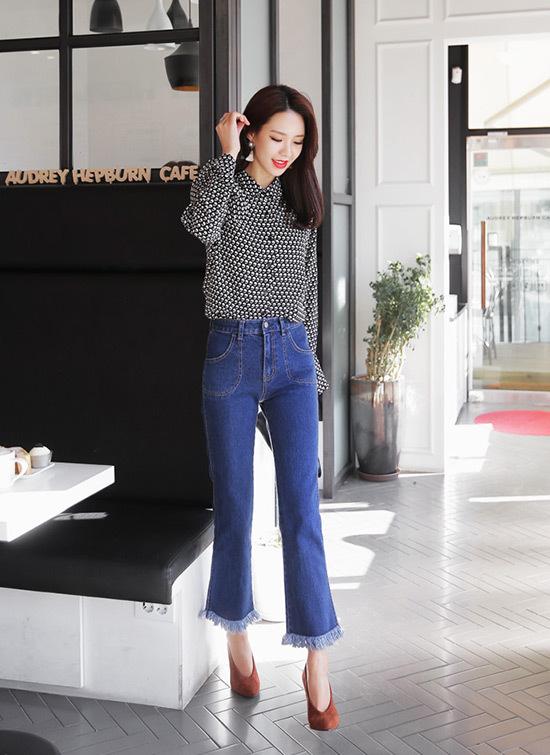 Những kiểu quần quần Jean tua rua ống lửng