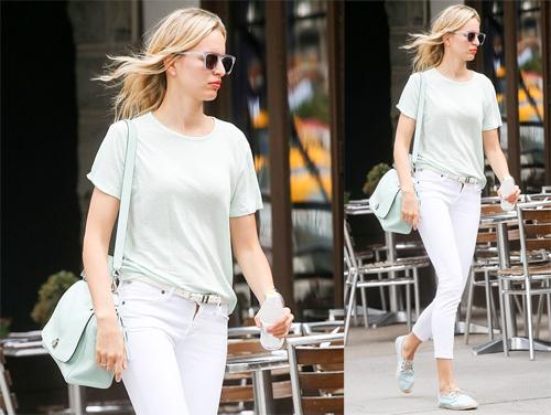 Phong cách quần Jean trắng trên đường phố