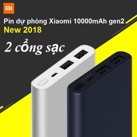 Pin dự phòng chính hãng Xiaomi Gen 2s 2018 2 cổng sạc USB