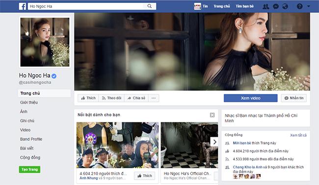 Fanpage Hồ Ngọc Hà