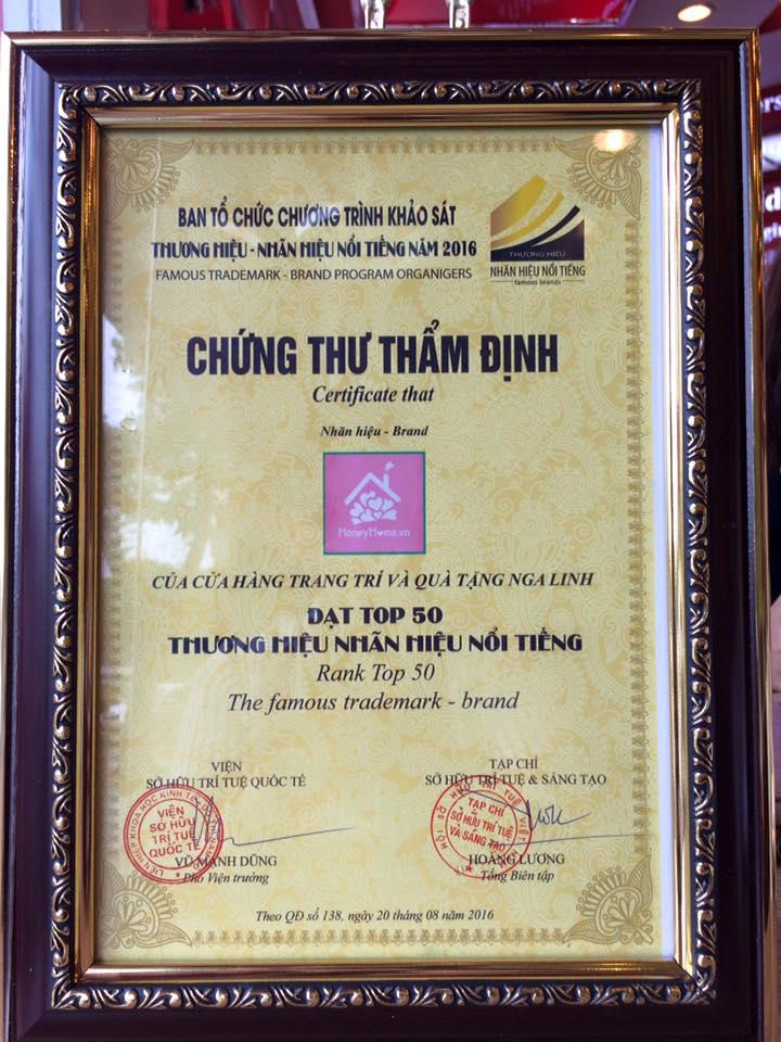 Chứng thư thẩm định Top 50 nhãn hiệu thương hiệu nổi tiếng Honeyhome.vn