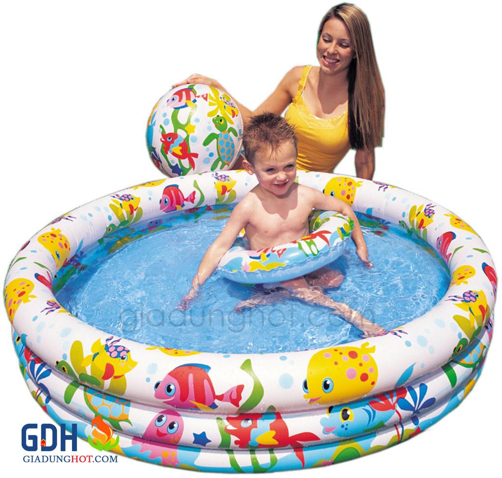 Bể bơi intex tặng kèm bóng và phao bơi cho bé