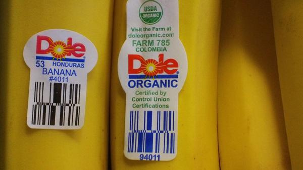 Ý nghĩa của các con số trên tem dán hoa quả nhập khẩu, chuối hữu cơ