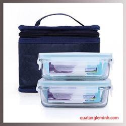 Bộ Lunch set túi giữ nhiệt và 2 hộp Glasslock