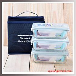 Bộ Lunch set túi giữ nhiệt và 3 hộp Glasslock