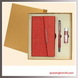 Bộ quà tặng 3 sản phẩm Sổ da A6, Bút ký, USB OTG 001