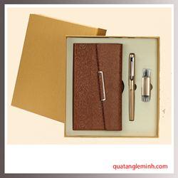 Bộ quà tặng 3 sản phẩm Sổ da A6, Bút ký, USB OTG 005