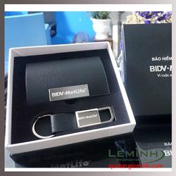 Bộ quà tặng Hộp Namecard + Móc khóa da - KH BHNT BIDV Metlife