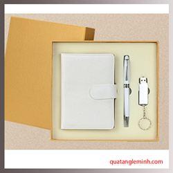 Bộ quà tặng cao cấp Giftset 3 sản phẩm Bút ký + USB + Sổ tay A6 gáy cài