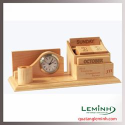 Bộ lịch gỗ để bàn kết hợp đồng hồ khay cài card