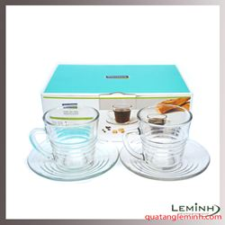 Bộ 2 cốc và đĩa thủy tinh cường lực