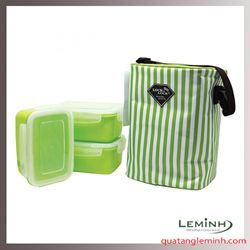 Bộ 3 Hộp Đựng Cơm Và Túi Giữ Nhiệt Lock&Lock 630ml (Green)