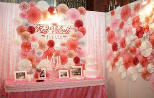 Backdrop hoa giấy hồng cam
