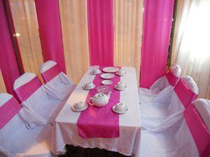 Bàn ghế cưới hỏi Xuân Hòa nơ hồng