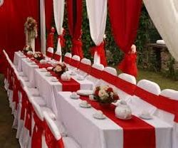 Bàn ghế cưới hỏi Xuân Hòa nơ đỏ