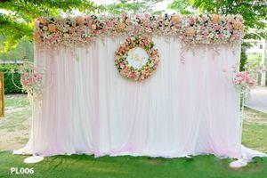 Phông lụa hồng trắng