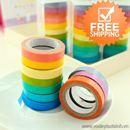 Băng dính trang trí sticker màu sắc bộ 10 cuộn loại nhỏ K1267