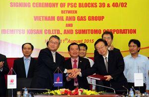 PVN, IDEMITSU, SUMITOMO ký hợp đồng phân chia sản phẩm dầu khí Lô 39&40/2