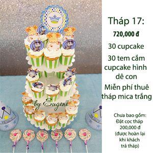 Tháp cupcake cho bé tuổi dê